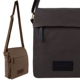Canvas Leather North South Cross Body Bag by Taranis Travel iPad