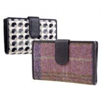 Ladies Medium Tab Leather & Tweed Purse/Wallet by Mala Abertweed Collection Wool