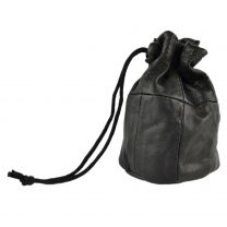 Lined Black Soft Leather Drawstring Wrist Pouch Coin Purse Change Handy