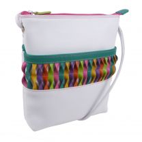 Ladies White Leather Cross Body Organiser Shoulder Bag by ili New York with Colourful Detail