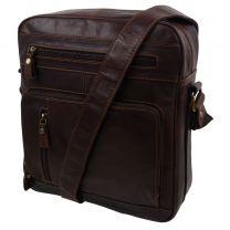 Leather Flight Bag By Prime Hide Men's Ladie's Messenger Bag  for Travel Brown