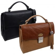 Ladies Small Black Leather Flap Over Grab Bag By ECLORE Paris