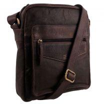 Rowallan of Scotland Leather Mens Messenger Bag Brown