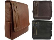 Mens Large Leather Messenger Cross Body Bag by Nova Leather 3 Colours