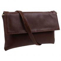 Ladies Cigar Brown Soft Leather Cross Body Clutch Bag Silvia Range by GiGi