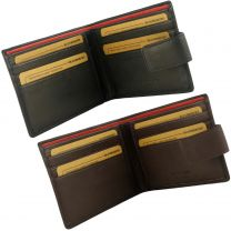 Mens Gents Quality Tabbed Leather Bi-Fold Wallet by Bloomsbury Gift Box