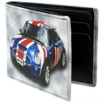 Mens Top Quality Leather Wallet by Golunski; Retro Mini Cooper Union Jack Gift Box