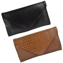 Ladies Soft Leather Envelope Clutch Handbag by GiGi Versatile Classic Croc