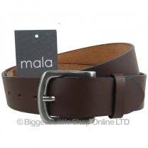 """Mens Brown 1.5"""" Wide Leather Belt by Mala Leather; Jeans Collection up to 48"""""""
