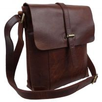 Rowallan of Scotland Mens Leather Half Flap Cross Body Bag in Cognac