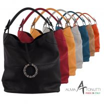 Alma Tonutti Stylish Ladies Leather Slouch Shoulder Bag Made in Italy