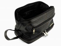 Mens LEATHER Top Frame Wash Bag by Rowallan of Scotland Travel Toiletries Quality
