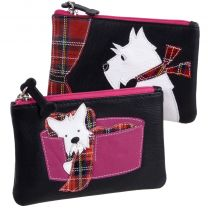 Ladies Leather Coin Purse by Mala; Best Friends Collection Westie/Scottie