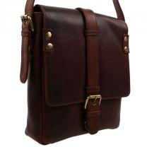 Mens Ladies Cedarwood Oiled  Buffalo Leather Buckle Cross body Bag by Rowallan Cognac