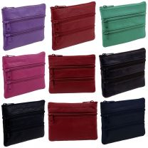 OakRidge Leather Zipped Coin Purse Unisex 4 Sections 7 Colours