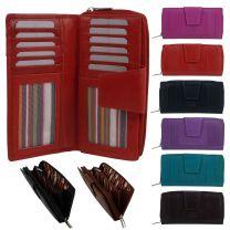 London Leathergoods Womens Large Purse/Wallet Zip Around