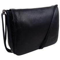 Ladies Leathers Classic Cross Body Handbag Bag by Marc Chantal Black Flap Over
