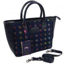 Ladies Leather & British Tweed Grab Bag by Mala; Abertweed Collection Handbag-Navy Spot