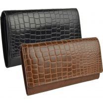 Ladies Leather Embossed Croc Look Flap Over Purse/Wallet by GiGi Gift Boxed