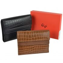 Ladies Leather Embossed Croc Versatile Purse/Wallet by GiGi Gift Boxed