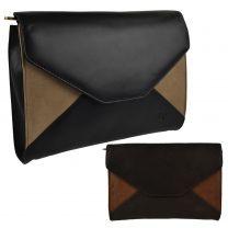 Ladies Soft Two-Tone Leather Envelope Clutch Handbag by GiGi Classic Womens