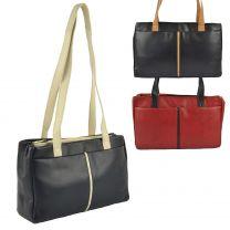 Ladies Classic Two-Tone Leather Handbag by GiGi; Othello Collection Stylish