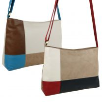 Ladies Soft LEATHER Shoulder Messenger BAG by GiGi Classic Colour Block Handbag