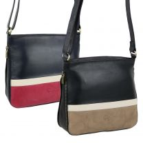 Ladies Soft Leather Slim Expandable Two-Tone Cross Body Bag by GiGi Handbag