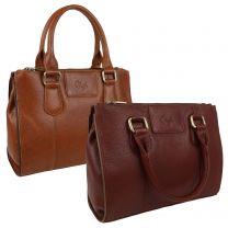 Ladies Soft Natural Leather Medium Grab Handbag by GiGi Giovanna Collection