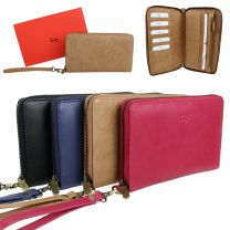 Ladies Soft Leather Travel Document Wrist Bag Wallet by GiGi Stylish Gift Box