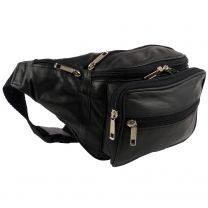 Quality Mens Ladies Large Leather Black Waist Bumbag Travel by Oakridge Fanny Pack