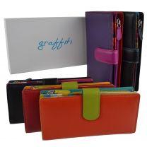 Ladies Leather Tabbed Purse/Wallet by Golunski; Graffiti Gift Box Bright Colours