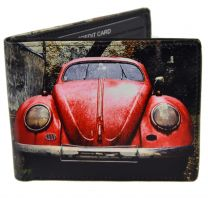 Mens Leather Vintage Retro Red Car Bi-Fold Wallet by Retro Gift Box