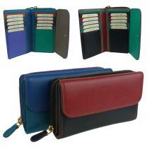 Ladies Leather Medium Zip Around Purse/Wallet by Golunski Multi Colourful