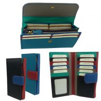 Ladies Leather Large Tabbed Multi-Section Purse/Wallet by Golunski Colourful