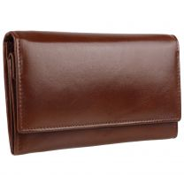 Ladies Veg Tan Leather Flap Over Purse/Wallet by Gorjus; Finchley Collection