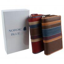 Ladies Leather Zip Around Purse/Wallet by Hansson, Nordic Blue