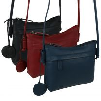 Ladies Small Leather Cross Body Bag by Hansson Nordic Blue Shoulder Handbag