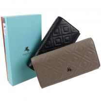 Ladies Luxurious Quilt Leather Flap Over Purse/Wallet by Visconti Gift Boxed