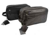 Mens Top Quality Leather Washbag by Prime Hide Black or Brown Gift Stylish