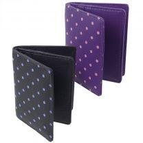 Polka Dot Leather Credit Card Holder By Golunski Dotty Spotty Navy Or Purple