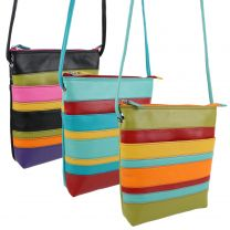 Ladies Leather Cross Body Shoulder Bag by Ili New York Colourful Stripes