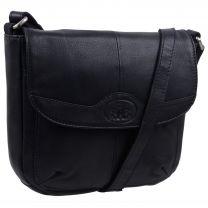 Rowallan Ladies Black Small Leather Cross Body Saddle Bag