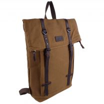 Troop London Laptop Backpack in Leather & Washed Canvas Camel Colour