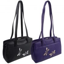 Ladies Leather Shoulder Bag with Dragonfly by Mala Azure Collection