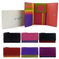 Ladies Leather Tri-Fold Flap Over Purse/Wallet By Golunski Graffiti Gift Box
