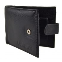 Mens/Gents Classic Leather Tabbed Bi-fold Wallet Quality Black Coin Pocket