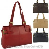 Ladies Soft Leather Shoulder Handbag by GiGi; Othello Collection Classic