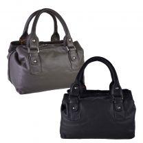 Ladies Compact Leather Grab Style Handbag by Island Bag Classic Spacious