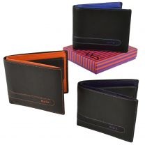 Mens Top Quality Leather Wallet by Mala; Axis Collection Two Tone Stylish Change Gift Boxed